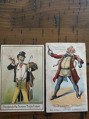 #ORIGINAL 1800's VICTORIAN Lot of 2 Trade Card Fancy Men Ads 3 x 5""