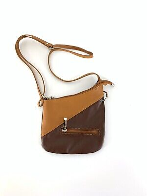 New With Dust Bag Vera Pelle Soft Italian Leather Crossbody 2 Tone Brown