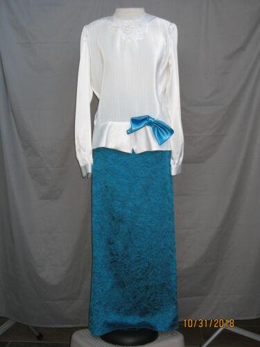 Edwardian Dress 1920s Great Gatsby Art Deco Titanic Style Blue & White