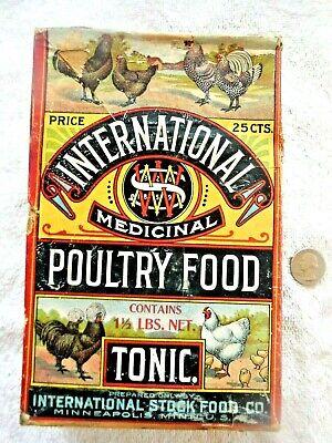 "Full. box ""INTERNATIONAL MEDICINAL POULTRY FOOD TONIC 25 c."" Minneapolis 1910's?"