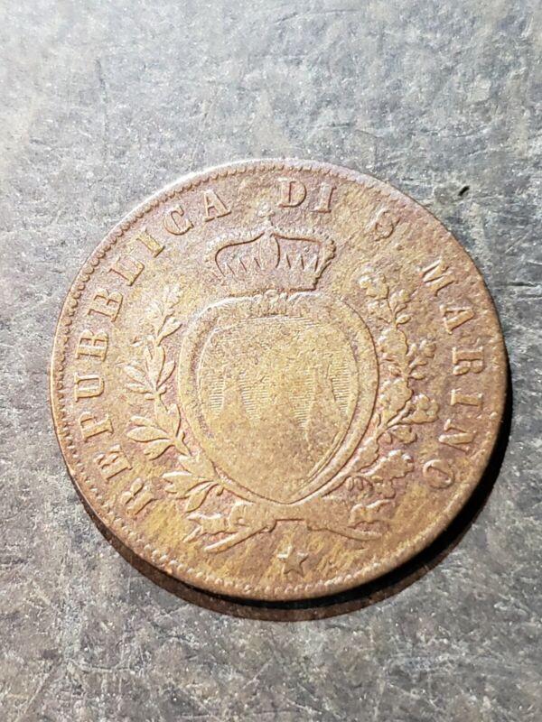 1869 SAN MARINO ITALY 5 Centesimi Coin