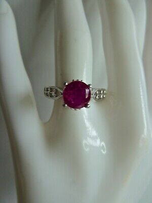 RUBY AND DIAMOND  925 SILVER RING