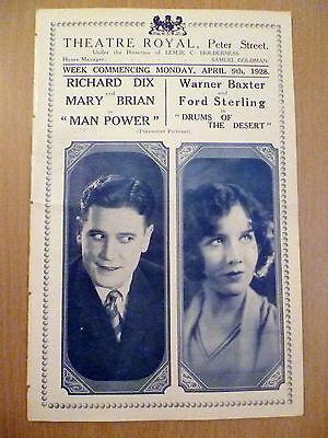 1928 Rare Cinema Programme Theatre Royal: 'Man Power & Drums of The Desert'
