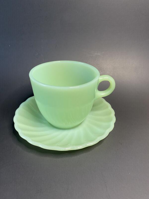 Vintage FireKing Jadeite Tea Coffee C-handle Cup and Swirl Saucer Anchor Hocking