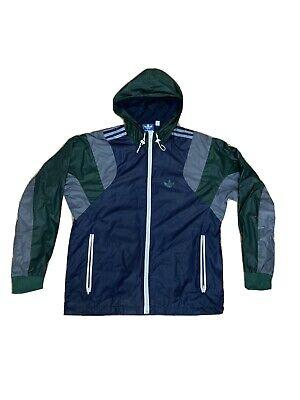Adidas Original Hoodie Windbreaker Jacket (M) Navy/Green/Grey
