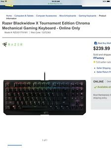 Razer blackwidow x te keyboard