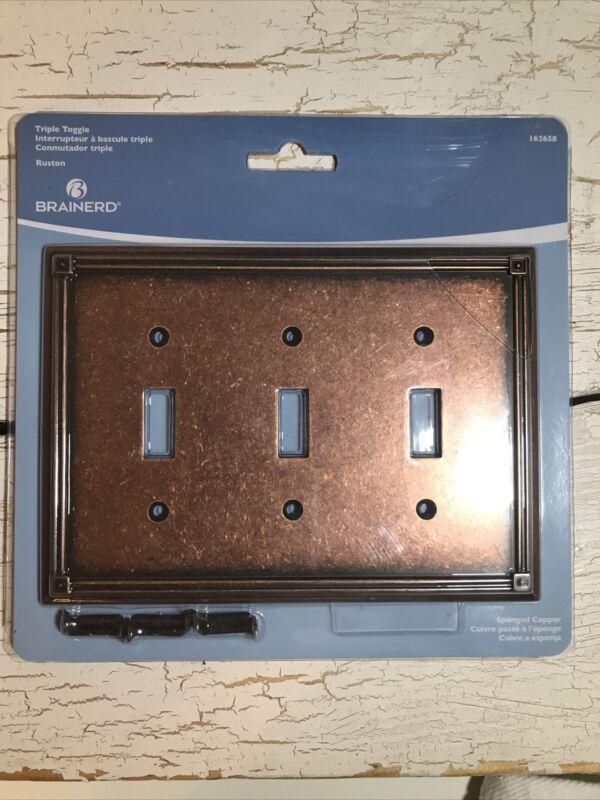 Brainerd Sponged Copper Triple Switch Cover Plate 162658