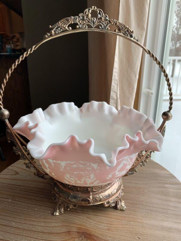 Antique Mt. Washington Cameo Pink Griffin Art Glass Brides Basket- 1890