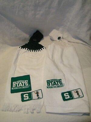 Michigan State Spartans MSU Set of 2 Crochet Kitchen Hand Fridge Golf Bar Towels - Michigan State Spartans Kitchen