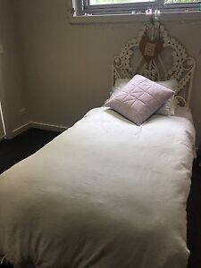 Single trundle bed with White cane bedhead Seaforth Manly Area Preview