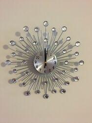 Wall Clock Silver Metal Crystal Effect Sunburst,  33cm diameter