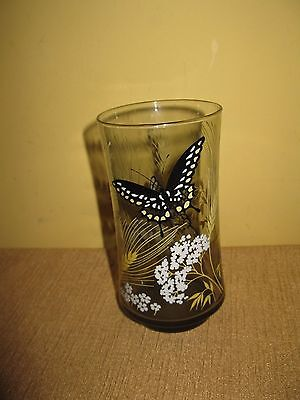 Vintage Libby* Butterfly Glass*Tumbler*Black*whiteYellow*cup*smokey 12 ounce