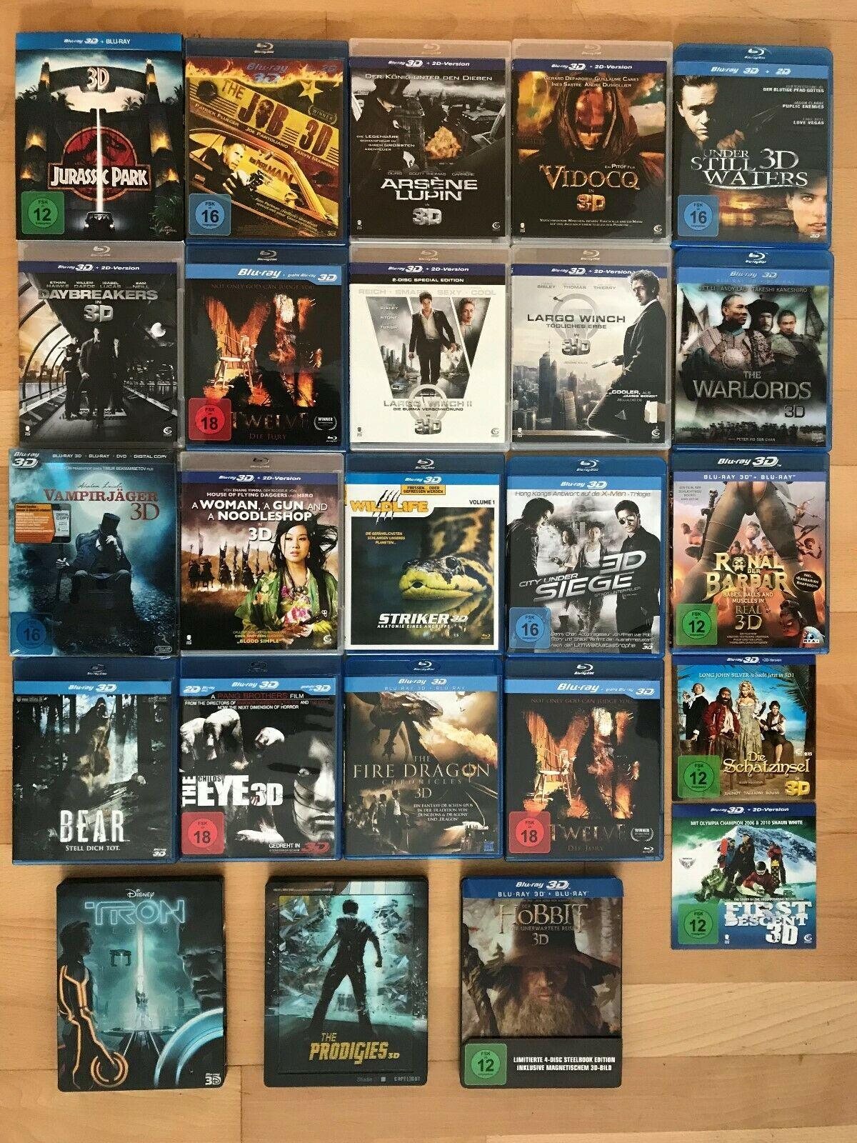 3D Blu ray Sammlung 24 Filme in 3D / Steelbook / Lenticular Hobbit Tron