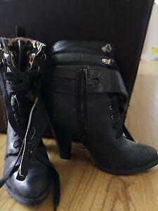 *Spring Cleaning* Size 8 Black Lace Up Boots