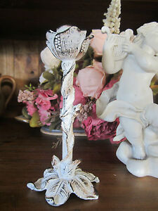 SMALL WHITE SHABBY CHIC ELEGANT PEWTER CANDLE STICK HOLDER -  FRENCH PROVINCIAL