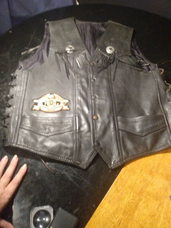 SALE HOG Harley Davidson Owners Group 90s Vintage Leather Vest Mens Size M/L BK