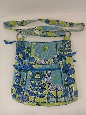 "Vera Bradley Blue Green Floral Tote Shoulder Bag Purse 11""X11"""