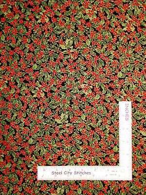 Christmas Holly Gold Gild Cotton Fabric Timeless Treasures CM5967 By The Yard (Gold Christmas Fabric)