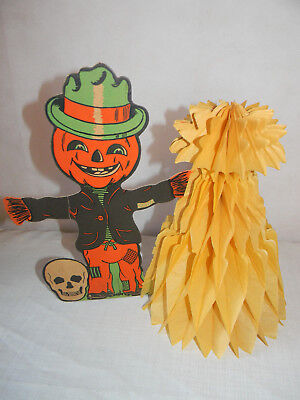VINTAGE HALLOWEEN PUMPKIN SCARECROW WITH PAPER MACHE DECORATION ](Halloween Decorations With Paper Mache)