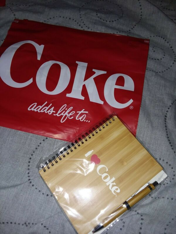 Coca cola coke hardcover spiral notebook journal pen new with gift bag