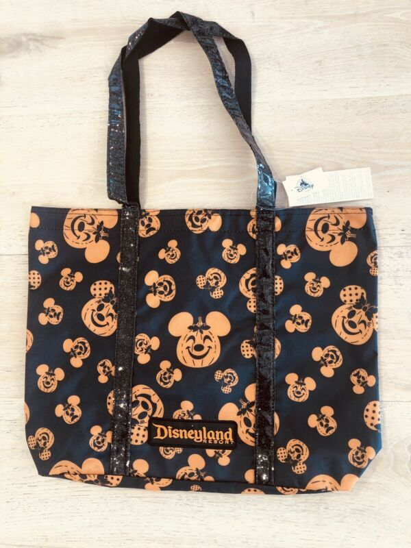 "Disneyland Halloween 2021 Pumpkin Mickey Minnie Mouse Tote Bag 18x14x4"" NWT"