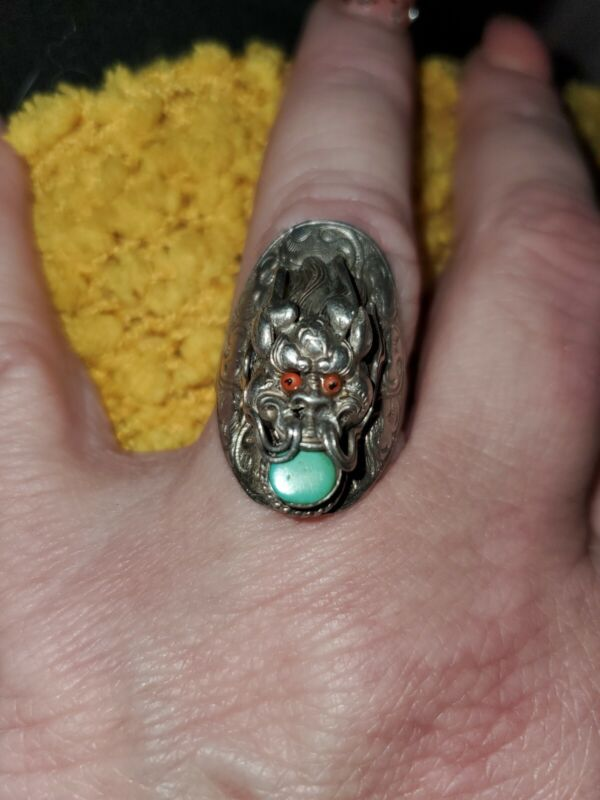 Antique Sterling Silver Turquoise And Coral Dragon 🐉ring Size 7