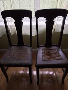 2 Antique Cane Bottom chairs