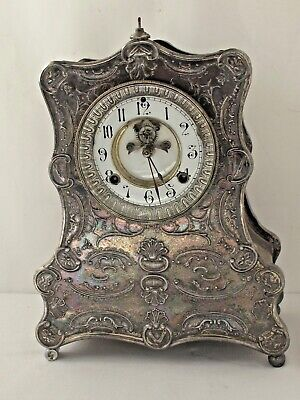 Antique Ornate Silver Plate Waterbury Neptuno Mantle Clock Pat. 1881
