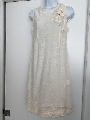 ERMANNO SCERVINO NWT Ivory Cotton Mini Sleeveless Dress , UK 10 US 6 EU 38
