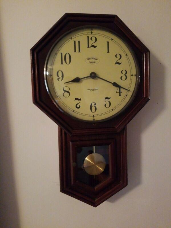 Vintage HAMILTON Quartz Greenfield Manor Wood Regulator Wall Clock Schoolhouse