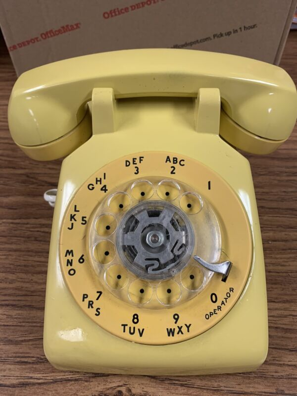 Vintage Yellow Rotary Phone Western Electric Bell System Tested Works