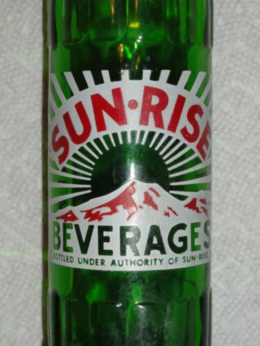 """EXTREMELY RARE GREEN GLASS """"SUN-RISE BEVERAGES"""" ACL SODA BOTTLE - COCA-COLA BTLG"""