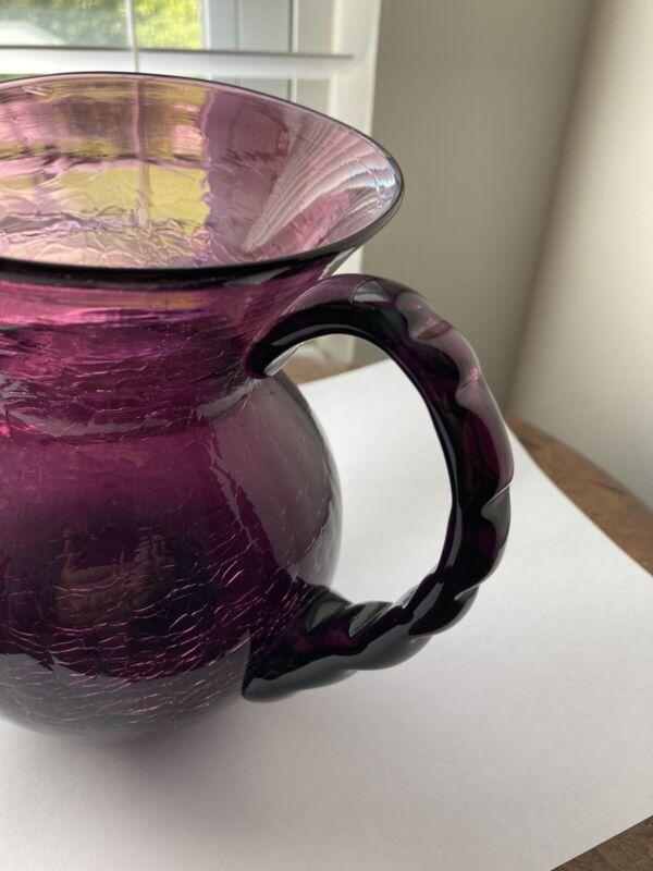 "Amethyst Purple vintage Crackle Glass 7"" pitcher rare handle, Pilgram or Hancock"