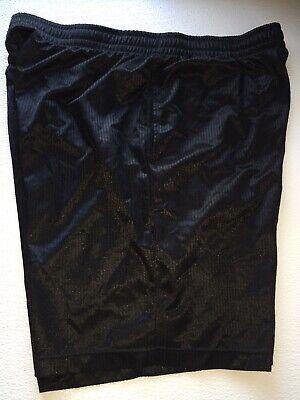 Starter Mens Large 36-38 Thin Shiny Ribbed Basketball Shorts Black Mesh Pockets