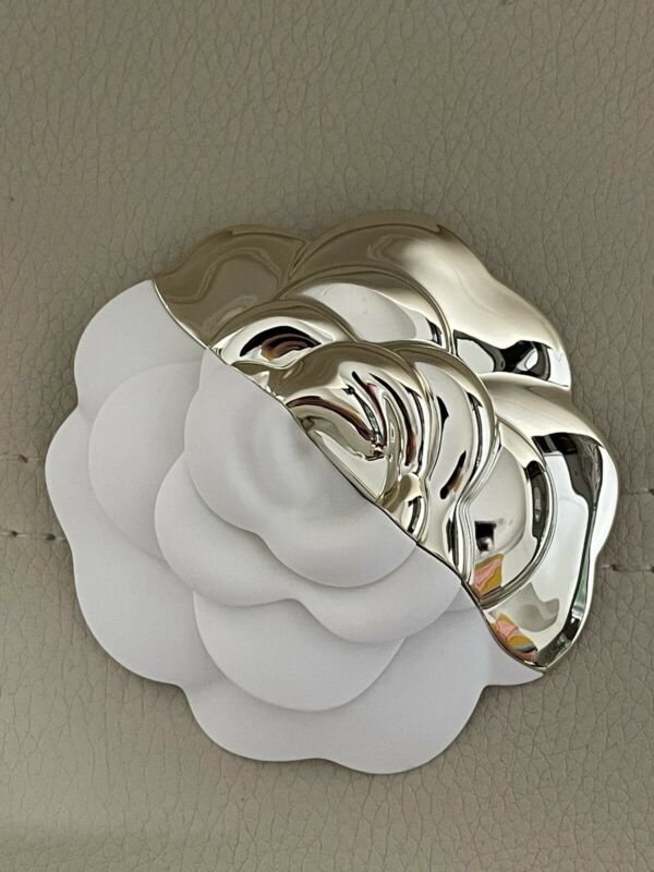 NEW CHANEL Metallic Gold White Camellia Flower Holiday Acrylic for brooch or pin