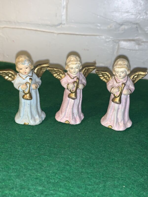 VINTAGE CHRISTMAS CHALKWARE ANGELS 3 INCHES HIGH HAND PAINTED SET OF THREE