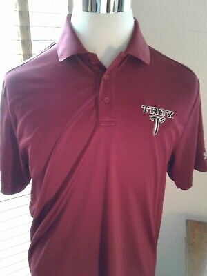 UNDER ARMOUR HeatGear Troy Trojans Golf Polo Shirt Size M  P101376 for sale  Shipping to Nigeria