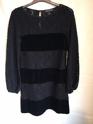 Jessica Howard  Stunning Black Lace/ Velvet Fitted Dress Size 14(329)