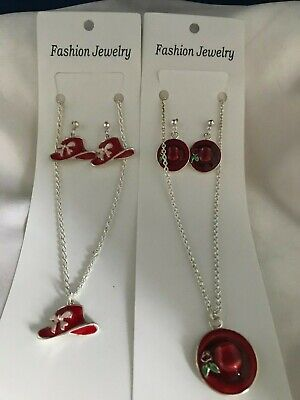 RED HAT RETIREMENT SET OF JEWELRY NECKLACE & EARRINGS - -
