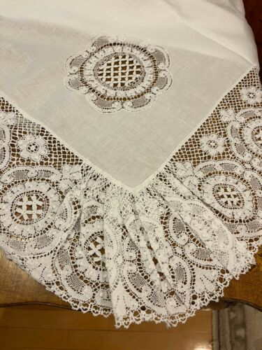 """COTTIMARYANNE BANQUET BOBBIN LACE TABLECLOTH 71 x 108"""" White Linen ITALY new"""