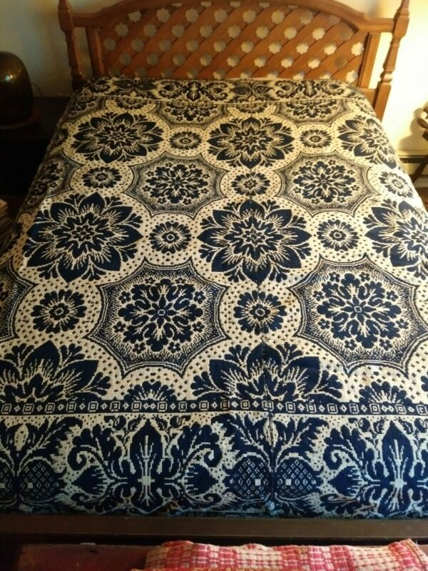 Antique 19th Century Two- Piece Blue & White Coverlet
