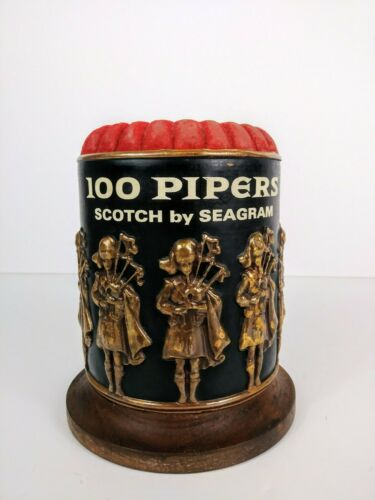 Vintage 100 Pipers Scotch by Seagram Bottle Display Case
