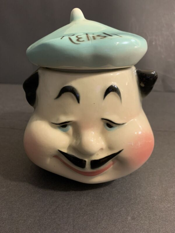 """American Bisque Pottery """"French Chef"""" Relish Jar With Lid Mid Century"""