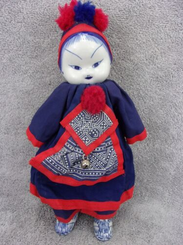 """12"""" Traditional China Doll blue & white porcelain head feet navy & red clothing"""