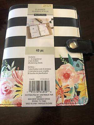 Brand New Recollections Planner Binder 6-rings Black And White Stripes Floral