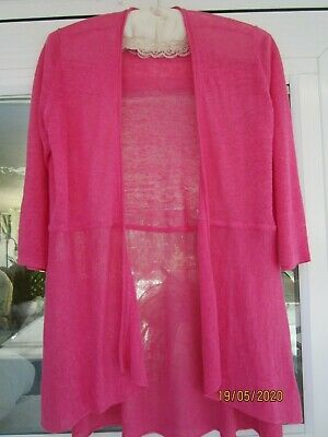 NEW EILEEN FISHER PETITE SIZE SMALL 100% PINK LINEN CARDIGAN SWEATER