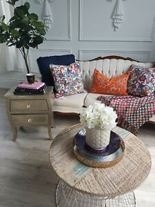 Gold side table and Divested wood coffee table for sale