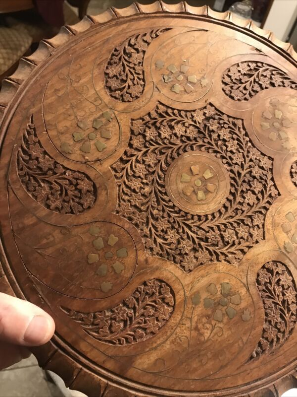 Antique Anglo Indian Brass and Copper Inlaid Artcarved Detailed Occasional Table
