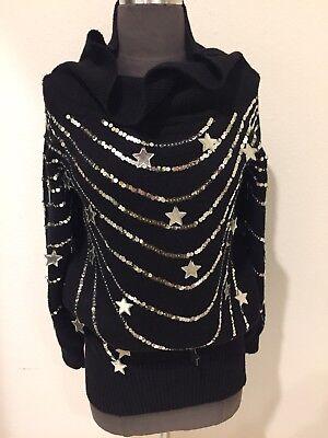❤️Vtg Sweater Drews  80s Sequin Stars Avant Garde Pop Art Glam Rock