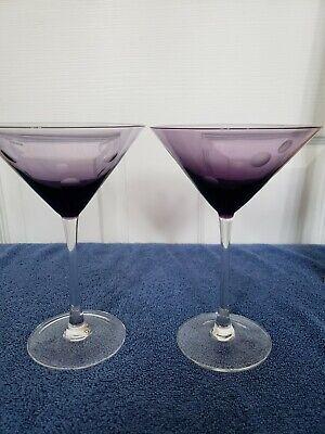 Martini Glasses Etched Dots Clear Stem Barware Martini Dot